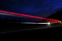 Car light on interstate in Arizona Stock Photography
