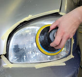 Car light repairing, fixing Stock Image