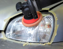 Car light repairing,  tool polish headlight Stock Images