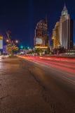 Car light streak in the city Stock Photos