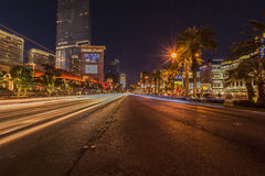 Car light streak in the city Royalty Free Stock Images