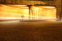 Car light trace. In night of modern city Royalty Free Stock Photo