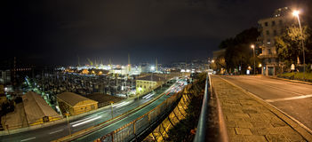 Car light tracks on Genoa Flyover at night Stock Photos