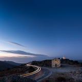 Car light trail around San Sebastiano chapel near Palasca in Cor Stock Photos