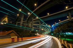 Light trail under Bhumibol Bridge, Bangkok Stock Photography