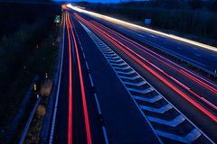 Car Light Trails. Light trails on the A14 royalty free stock photography
