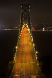Car Light Trails on Bay Bridge Royalty Free Stock Photography