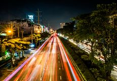 The car light trails in the city stock photography