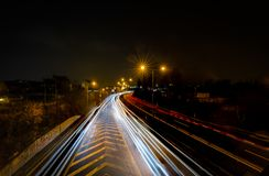 The car light trails in the city, view from the bridge, Brno, Czech Republic stock photo