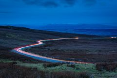 Car Light Trails on Hartside Pass Stock Photos