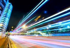Car light trails in Hong Kong Royalty Free Stock Images