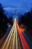 Car light trails at Lions Gate Bridge Royalty Free Stock Images