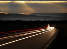 Car Light Trails in the Mountains Royalty Free Stock Image