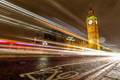 Car light trails over Big Ben, London. Royalty Free Stock Photos