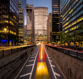 Car light trails, Park Avenue South, New York City. Light trails of cars in Park Avenue, Manhattan. Evening light on NYC skyscrapers and Grand Central Terminal Stock Photo