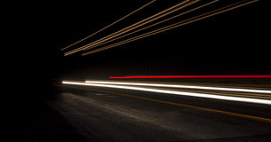 Car light trails on the road. Nobody Royalty Free Stock Photos