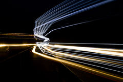 Car light trails on the road. Nobody. Car light trails on the road Royalty Free Stock Photo