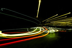 Car light trails on the road. Nobody. Car light trails on the road Stock Photos