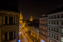 Car light trails in the streets of Prague, Czech Republic Stock Images