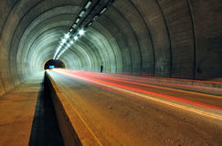 Car Light Trails in the Tunnel Stock Photography