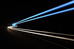 Car light trails in the tunnel. Royalty Free Stock Photo