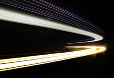 Car light trails in the tunnel. Royalty Free Stock Image