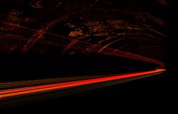 Car light trails in the tunnel. Royalty Free Stock Images