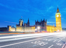 Car light trails under Houses of Parliament, London Stock Photography