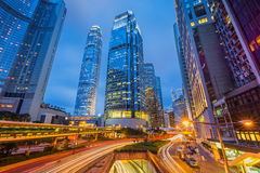 Car light trails and urban landscape in Hong Kong. Royalty Free Stock Photo