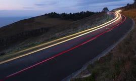 Car lights, driving at night Royalty Free Stock Photos