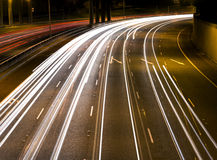 Car lights on a highway Stock Image
