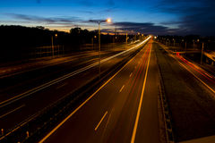 Car lights on a highway Royalty Free Stock Photo