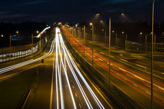Car lights on a highway Stock Photo