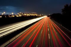 Car lights motion. An image of red and white car lights speed lines Royalty Free Stock Image