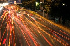 Car lights by night Stock Images