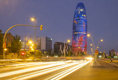 Car lights at night in Barcelona Stock Photography