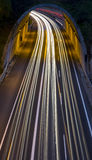 Car lights passing through a tunnel Royalty Free Stock Photos