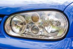 Car lights. Photo of the car lights, car color blue Stock Photo