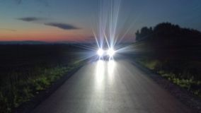 Car lights on the road Royalty Free Stock Images