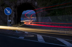 Car lights in the road. Between Zarautz and Getaria Royalty Free Stock Photos