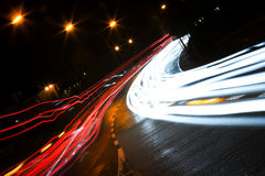 Car lights trails Stock Images