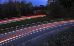 Car lights trails. Car lights trails, Gipuzkoa, Spain Stock Images