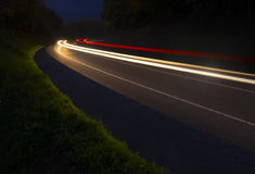 Car lights trails. Car lights trails, Gipuzkoa, Spain Royalty Free Stock Images