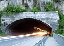 Car lights trails in a Veliko Trnovo tunnel Royalty Free Stock Image