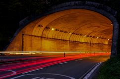 Car lights tunnel driving in San Sebastian city Royalty Free Stock Photography