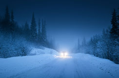 Car lights in winter forest Royalty Free Stock Photography