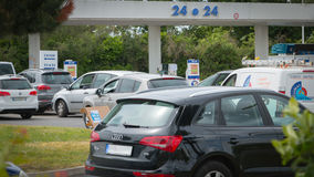 Car line for the fuel shortage. Saint Gilles Croix de Vie, France - May 24, 2016 : Strikes bring shortages in hundreds of French petrol stations Stock Photography