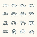 Car line icon set Stock Photo