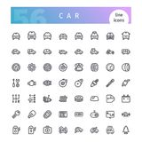 Car Line Icons Set. Set of 56 car line icons suitable for web, infographics and apps. Isolated on white background. Clipping paths included stock illustration