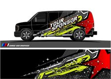 Free Car Livery Graphic Vector. Abstract Racing Shape Design For Vehicle Vinyl Wrap Background Royalty Free Stock Photography - 118123667